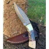 Full tang damascus steel knife black horn bone brass