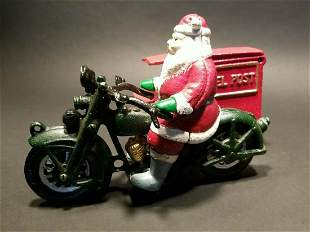 Cast Iron Toy Santa Motorcycle with Parcel Post side