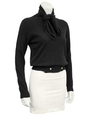 Chanel Black Scottish Cashmere Sweater with Necktie and