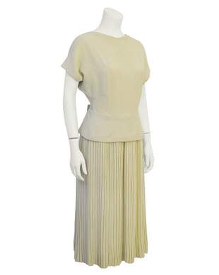 Manguin Cream Dress with Pleated Skirt and Bow Detail