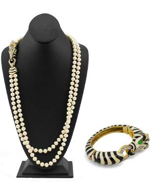 Ciner Double faux pearl necklace & matching zebra