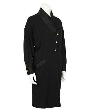 Chanel Black Wool Jersey & Satin Dinner Dress