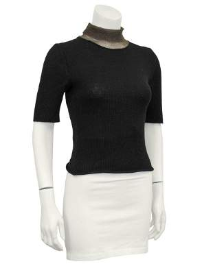 Krizia Black and Bronze Knit Short Sleeve Top