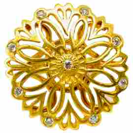 Suzanne Wilson 18K Yellow Gold and Diamond Florentine