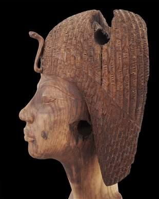 Egyptian wooden sculpture depicting Queen Tiye