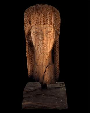Egyptian wooden mask of a princess