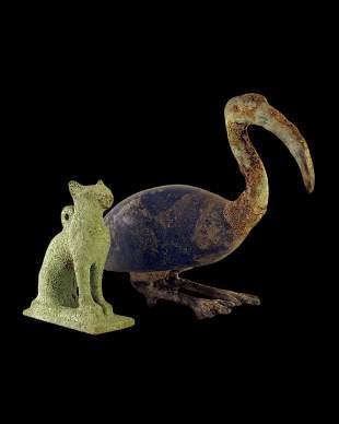 Egyptian bronze Bastet cat and Ibis