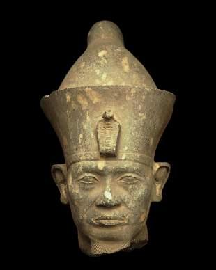 Granite head of Egyptian king Senusret III