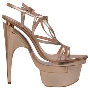 New Versace Metallic leather platform sandals