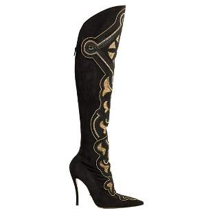 New Versace Chain and Crystal Embellished Suede Boots