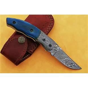 Inner lock damascus steel knife hunting bone