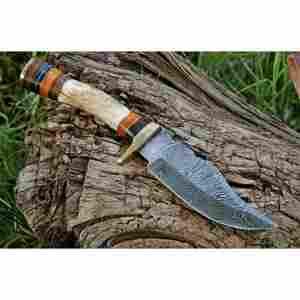 Pocket damascus steel knife skinner stag brass