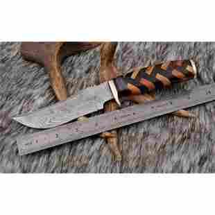 Hiking damascus steel knife skinner wood brass