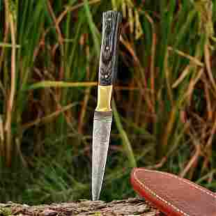 Throwing hiking damascus steel knife stain color wood