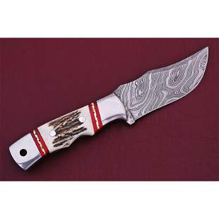 Damascus steel knife stag handle full tang hunting