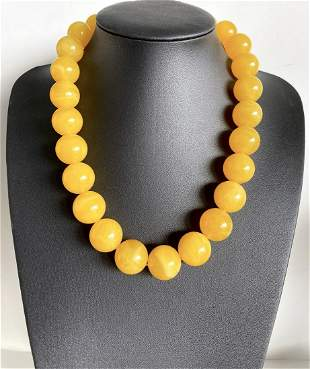 Unique and Stunning Amber Necklace made from Round