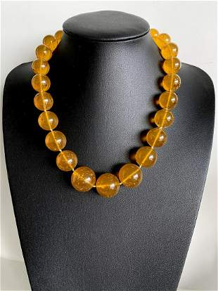 Unique and Splendid Amber Necklace made from Round