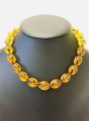 Amazing Unique Vintage Amber Necklace made from Hand