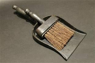 Cast Iron Fireplace Tools Dust Pan & Broom