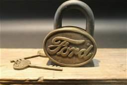 Brass & Iron Trunk Chest Box Ford Lock Padlock