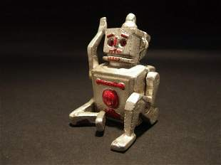 Mini Cast Iron Silver Robert the Robot Toy Paperweight