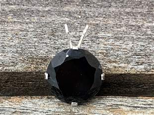 Black Spinel Natural Gemstone .925 Sterling Pendant