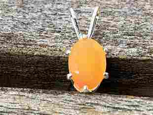 Carnelian Natural Gemstone .925 Sterling Pendant