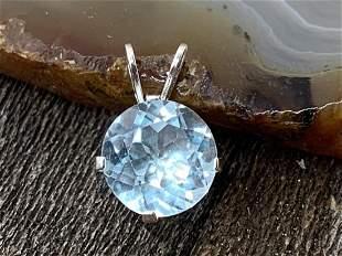 Blue Topaz Natural Gemstone .925 Sterling Pendant