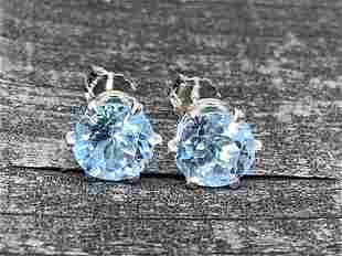 Blue Topaz Natural Gemstone .925 Sterling Earrings