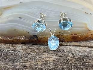 Blue Topaz Natural Gemstone .925 Sterling Pendant and