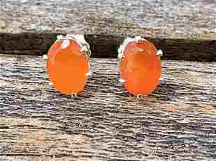 Carnelian Natural Gemstone .925 Sterling Earrings