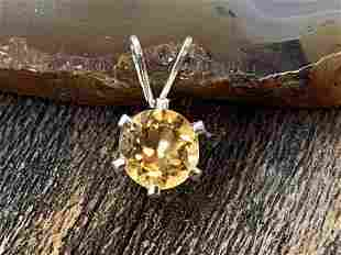 Citrine Natural Gemstone .925 Sterling Pendant