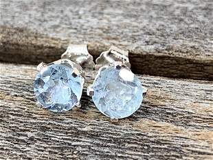 Aquamarine Natural Gemstone .925 Sterling Earrings
