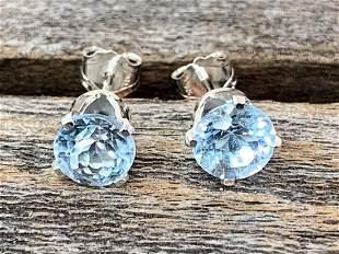 Blue Topaz Natural Gemstone .925 Sterling Earrings