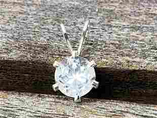 Clear Quartz Natural Gemstone .925 Sterling Pendant
