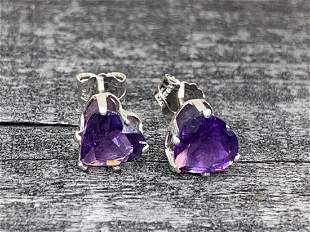 Amethyst Natural Gemstone .925 Sterling Heart Shaped
