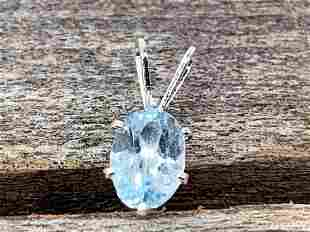 Blue Topaz Natural Gemstone .925 Sterling Pendant