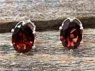 Garnet Natural Gemstone .925 Sterling Earrings