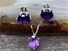 Amethyst Natural Gemstone .925 Sterling Pendant and