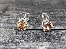 Cinnamon Zircon Natural Gemstone .925 Sterling Earrings