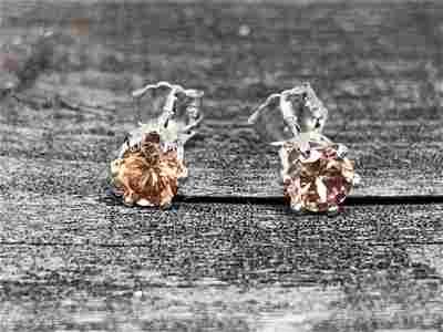 Cinnamon Zircon Natural Gemstone .925 Sterling Earrings