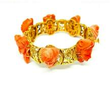 Vintage 14k Yellow Gold Carved Coral Bracelet