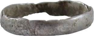 RARE SILVER VIKING RING, 900-1050 AD, SZ 10 ¾