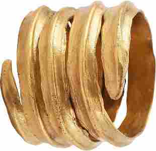 FINE VIKING COIL RING 850-1050 AD, SIZE 10 ¼