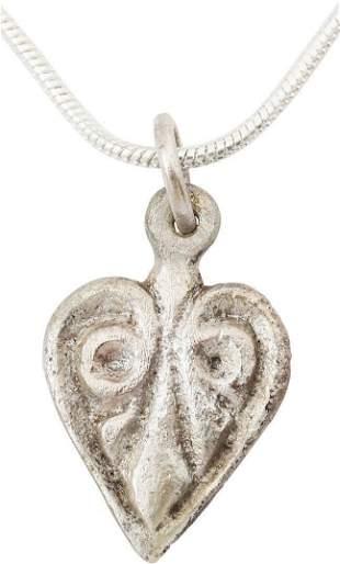 FINE VIKING HEART NECKLACE, 10TH-11TH C. AD