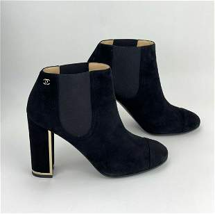 CHANEL short Black suede leather Slip on Chunky heel