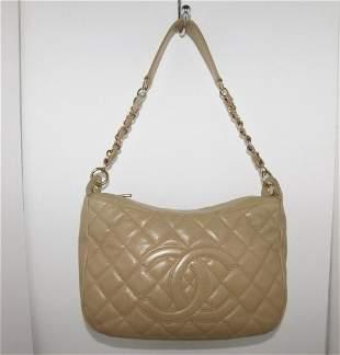 CHANEL CC LOGO Chain Quilted Caviar medium Shoulder Bag