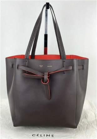CELINE CABAS PHANTOM Small W/Belt Dark Brown Soft