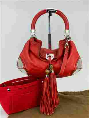 Gucci Guccissima Indy Top Handle Tassel Red Leather