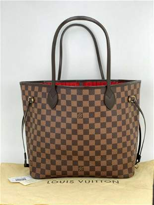 Louis Vuitton Neverfull MM Damier Ebene Tote Shoulder